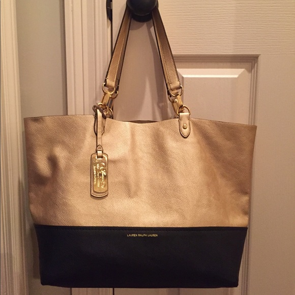 Ralph Lauren Leather Tote -Gold   Navy dd44607f7493f